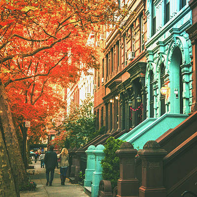 Brownstones Photograph - New York City  by Vivienne Gucwa