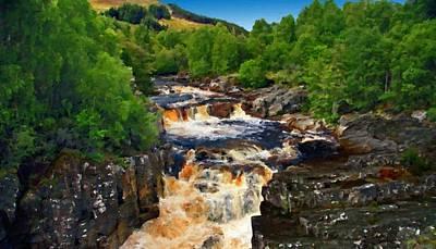 River Digital Art - Oil Painting Landscape by Victoria Landscapes