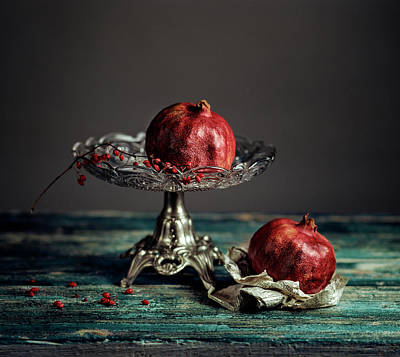 Silver Photograph - Pomegranate by Nailia Schwarz
