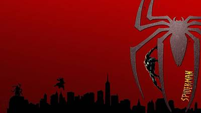 Skyline Digital Art - Spider-man by Super Lovely