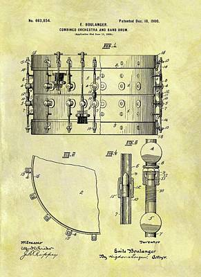 Musicians Drawings - 1900 Band Drum Patent by Dan Sproul