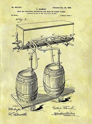 Beer Drawings - 1900 Beer Cooler Patent by Dan Sproul
