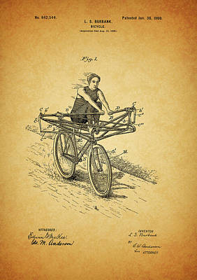 Mixed Media - 1900 Bicycle Patent by Dan Sproul
