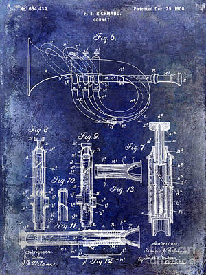Vintage Music Photograph - 1900 Cornet Patent Blue by Jon Neidert