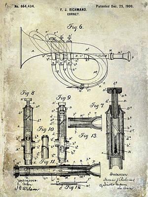 Vintage Music Photograph - 1900 Cornet Patent by Jon Neidert