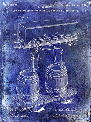 Americana Micro Art Photograph - 1900 Draft Beer Patent Blue by Jon Neidert