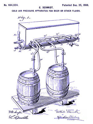 Stein Photograph - 1900 Draft Beer Patent Blueprint by Jon Neidert