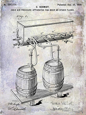 Americana Micro Art Photograph - 1900 Draft Beer Patent by Jon Neidert
