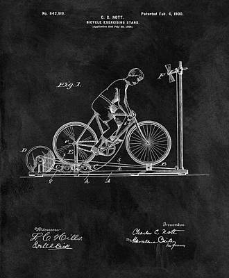 Bicycle Drawing - 1900 Exercise Bike Patent by Dan Sproul