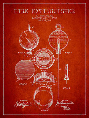 1900 Fire Extinguisher Patent - Red Art Print