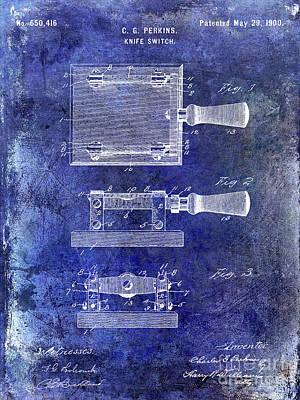 1900 Knife Switch Patent Blue Art Print