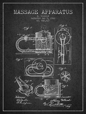 Relaxation Drawing - 1900 Massage Apparatus Patent - Charcoal by Aged Pixel