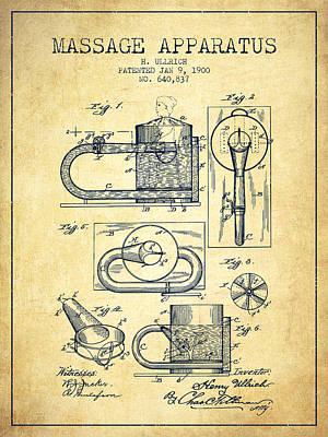 Relaxation Drawing - 1900 Massage Apparatus Patent - Vintage by Aged Pixel