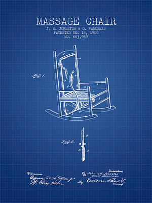 Relaxation Drawing - 1900 Massage Chair Patent - Blueprint by Aged Pixel