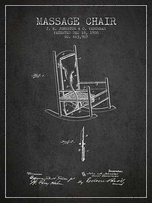 Relaxation Drawing - 1900 Massage Chair Patent - Charcoal by Aged Pixel