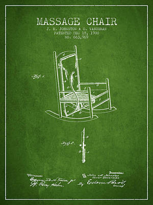 Relaxation Drawing - 1900 Massage Chair Patent - Green by Aged Pixel