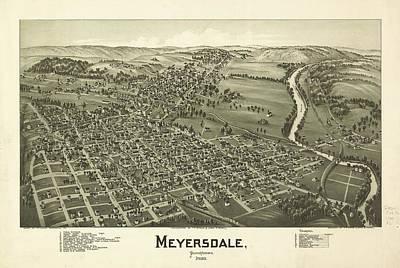 Pennsylvania Drawing - 1900 Meyersdale Pennsylvania Map by Dan Sproul