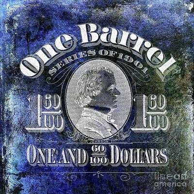 1901 Beer Barrel Tax Stamp Blue Art Print by Jon Neidert