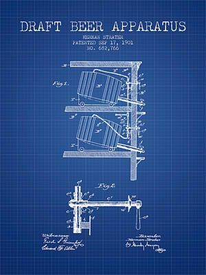 1901 Draft Beer Apparatus - Blueprint Art Print by Aged Pixel