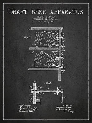 Beer Royalty-Free and Rights-Managed Images - 1901 Draft Beer Apparatus - Charcoal by Aged Pixel