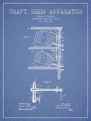 Beer Royalty-Free and Rights-Managed Images - 1901 Draft Beer Apparatus - Light Blue by Aged Pixel