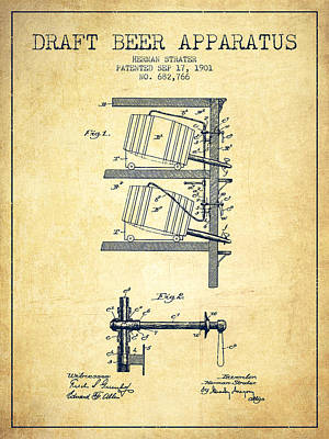 Beer Royalty-Free and Rights-Managed Images - 1901 Draft Beer Apparatus - Vintage by Aged Pixel