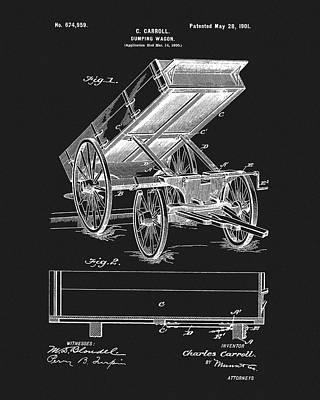 Wagon Wheels Mixed Media - 1901 Dumping Wagon Patent by Dan Sproul