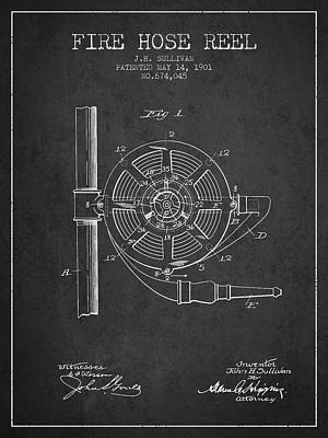Clothes Digital Art - 1901 Fire Hose Reel Patent - Charcoal by Aged Pixel