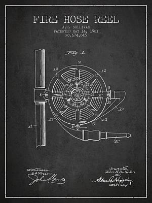 1901 Fire Hose Reel Patent - Charcoal Art Print