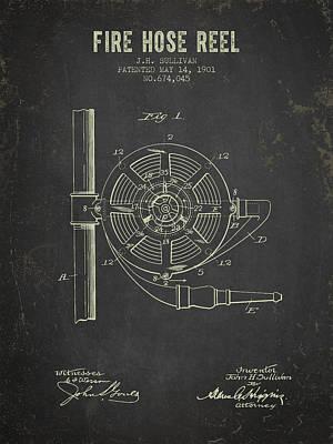 Clothes Digital Art - 1901 Fire Hose Reel Patent- Dark Grunge by Aged Pixel