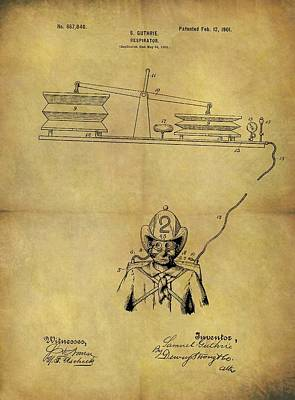 Drawing - 1901 Fireman Respirator Patent by Dan Sproul