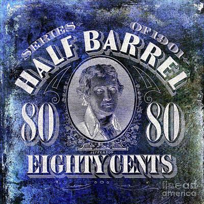 1901 Half Beer Barrel Tax Stamp Blue Art Print by Jon Neidert