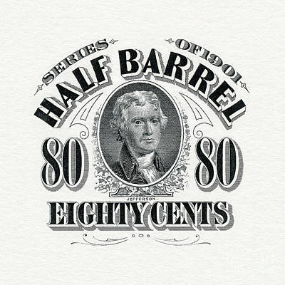 1901 Half Beer Barrel Tax Stamp Art Print by Jon Neidert