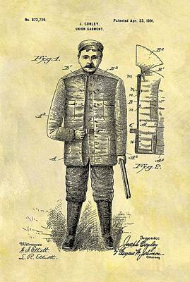 Drawing - 1901 Hunting Jacket Patent by Dan Sproul