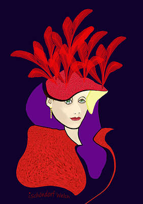 Digital Art - 1901 - The Red Ascot Hat by Irmgard Schoendorf Welch