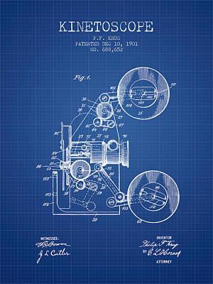 1901 Kinetoscope Patent - Blueprint Art Print by Aged Pixel