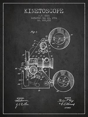 1901 Kinetoscope Patent - Charcoal Art Print by Aged Pixel