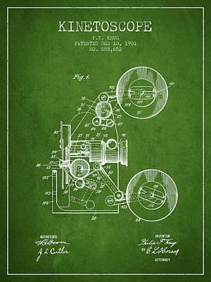 1901 Kinetoscope Patent - Green Art Print by Aged Pixel