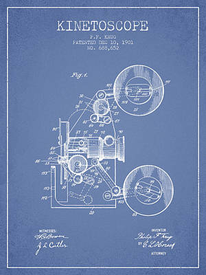 Camera Digital Art - 1901 Kinetoscope Patent - Light Blue by Aged Pixel