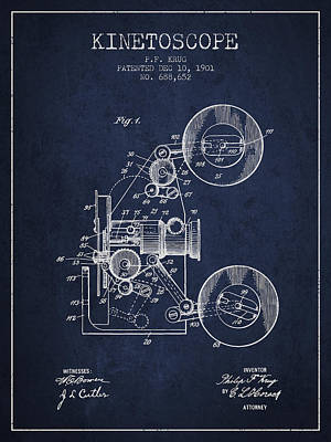 Camera Digital Art - 1901 Kinetoscope Patent - Navy Blue by Aged Pixel