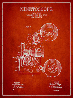 1901 Kinetoscope Patent - Red Art Print by Aged Pixel