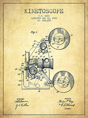 Technical Photograph - 1901 Kinetoscope Patent - Vintage by Aged Pixel