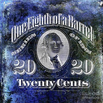 1901 One Eighth Beer Barrel Tax Stamp Blue Art Print by Jon Neidert