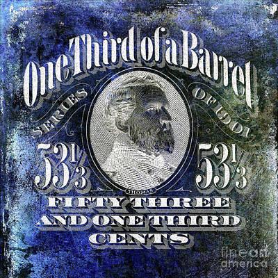 1901 One Third Beer Barrel Tax Stamp Blue Art Print by Jon Neidert