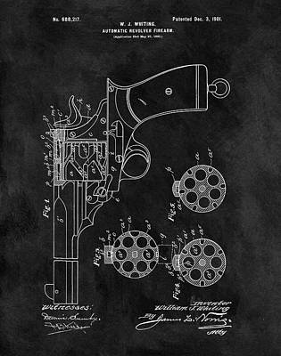 Drawing - 1901 Revolver Patent by Dan Sproul