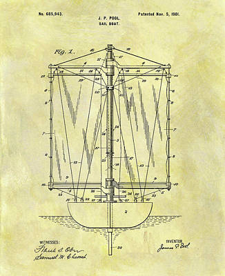 Boating Mixed Media - 1901 Sailboat Patent by Dan Sproul