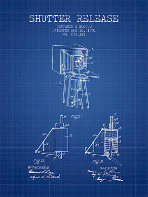 Camera Digital Art - 1901 Shutter Release Patent - Blueprint by Aged Pixel