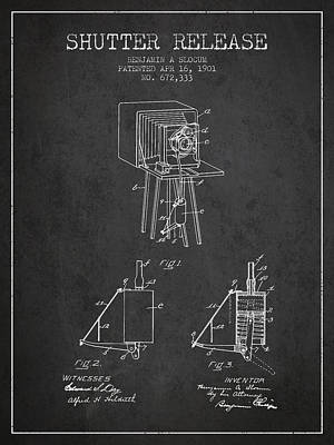 Camera Digital Art - 1901 Shutter Release Patent - Charcoal by Aged Pixel