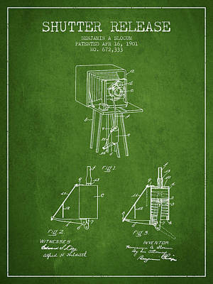 Camera Digital Art - 1901 Shutter Release Patent - Green by Aged Pixel
