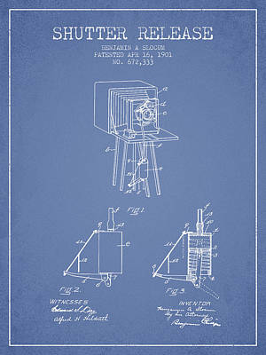 Camera Digital Art - 1901 Shutter Release Patent - Light Blue by Aged Pixel